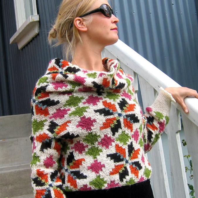 Gilet zippé tricoté en laine Alafoss Lopi  Modèle tricot gratuit Héla