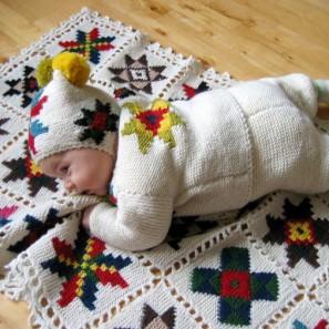 Le tricot jacquard islandais: modèle couverture et layette
