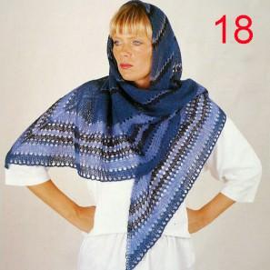 kit18 Châle triangulaire bleu